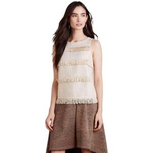 Anthropologie Sunday in Brooklyn Gold Fringe Top